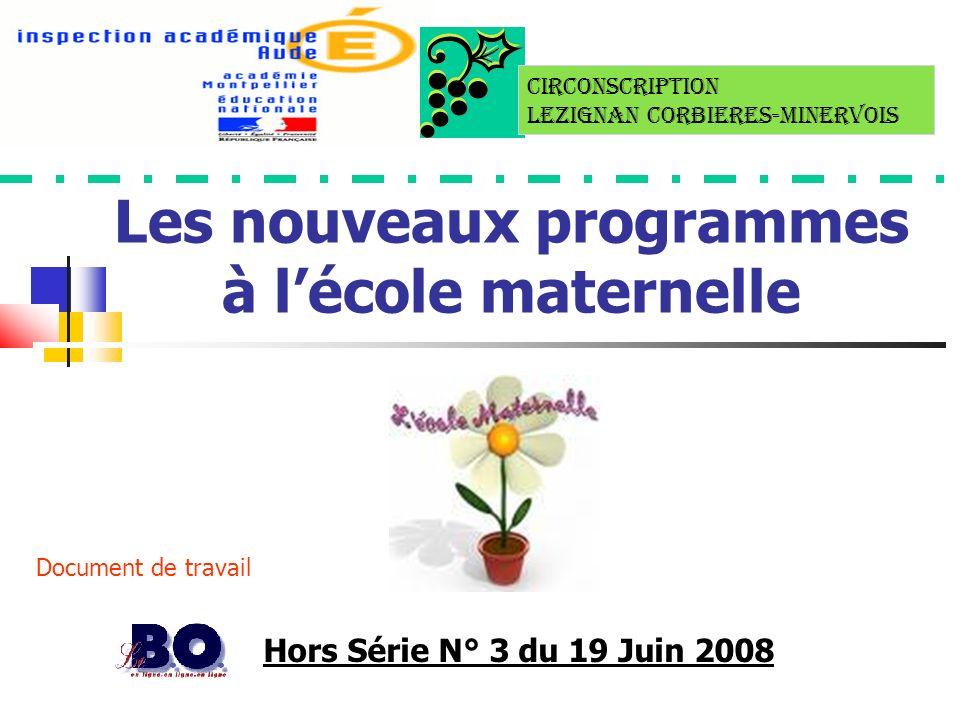 Les nouveaux programmes à lécole maternelle Hors Série N° 3 du 19 Juin 2008 Document de travail Circonscription LEZIGNAN CORBIERES-MINERVOIS
