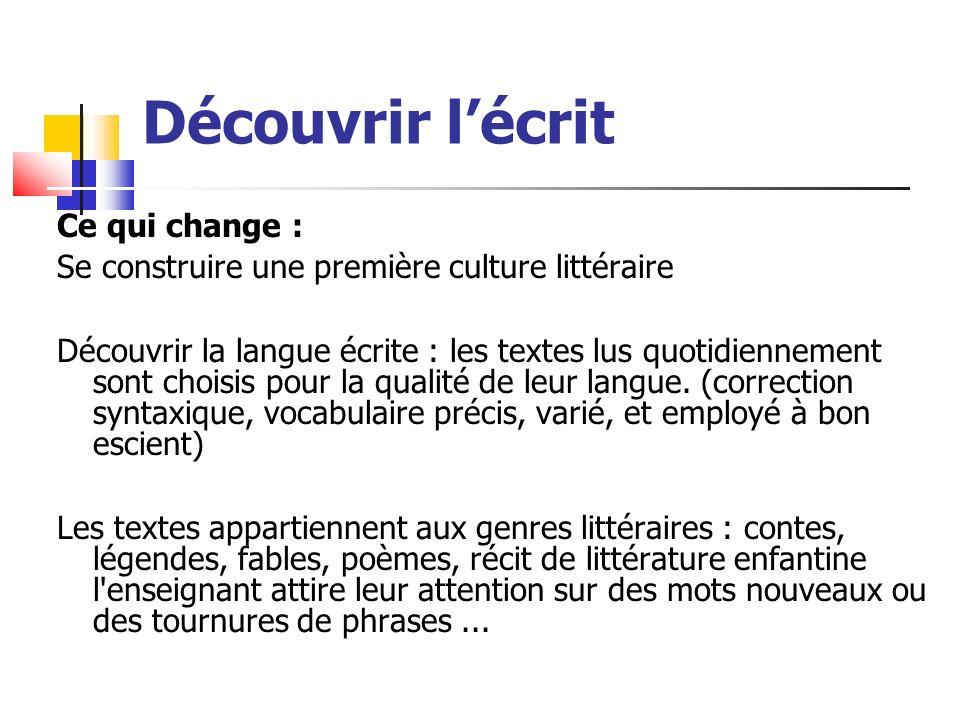 Découvrir lécrit Ce qui change : Se construire une première culture littéraire Découvrir la langue écrite : les textes lus quotidiennement sont choisis pour la qualité de leur langue.