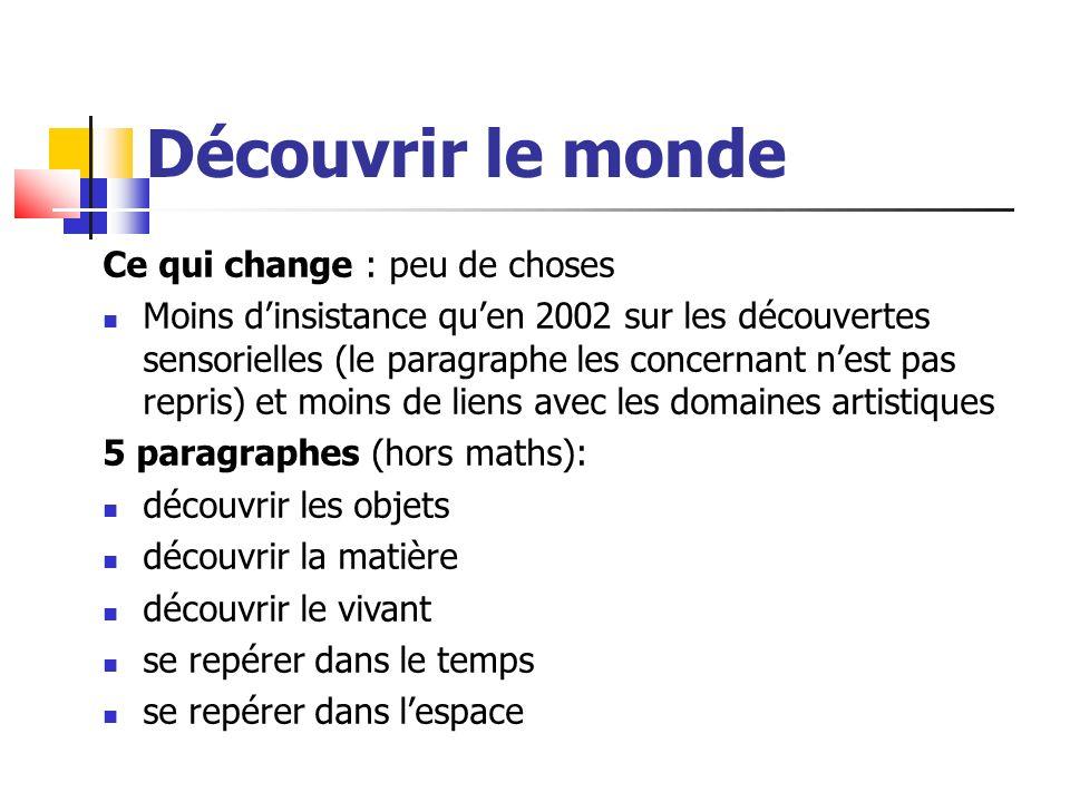 Découvrir le monde Ce qui change : peu de choses Moins dinsistance quen 2002 sur les découvertes sensorielles (le paragraphe les concernant nest pas r