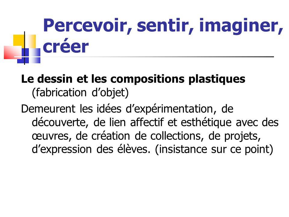 Le dessin et les compositions plastiques (fabrication dobjet) Demeurent les idées dexpérimentation, de découverte, de lien affectif et esthétique avec des œuvres, de création de collections, de projets, dexpression des élèves.