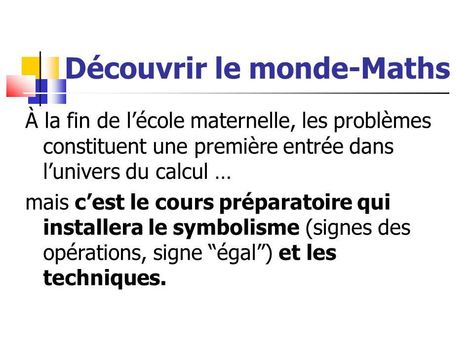 Découvrir le monde-Maths À la fin de lécole maternelle, les problèmes constituent une première entrée dans lunivers du calcul … mais cest le cours pré
