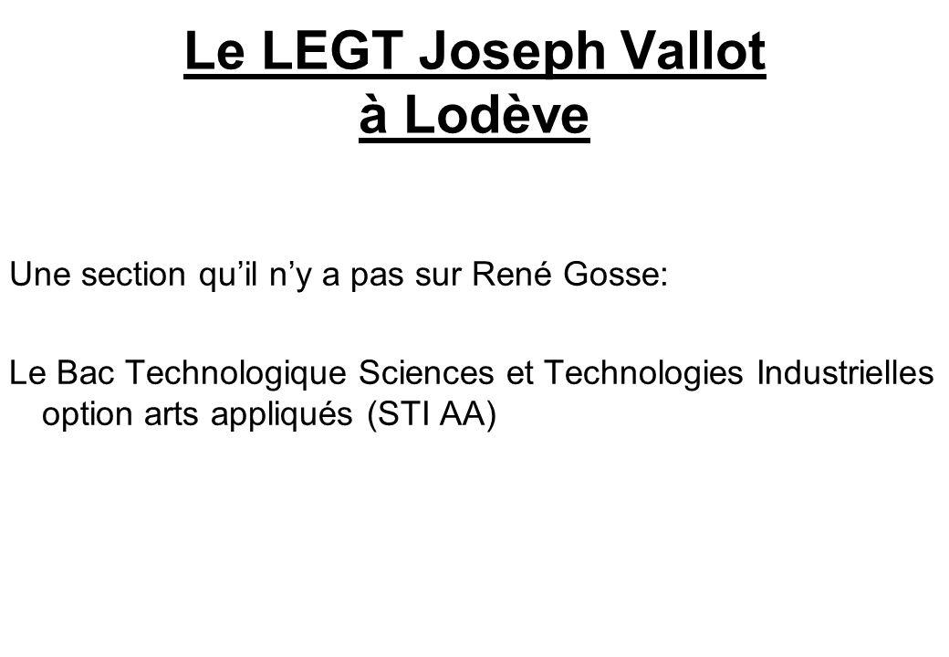 Le LEGT Joseph Vallot à Lodève Une section quil ny a pas sur René Gosse: Le Bac Technologique Sciences et Technologies Industrielles option arts appli