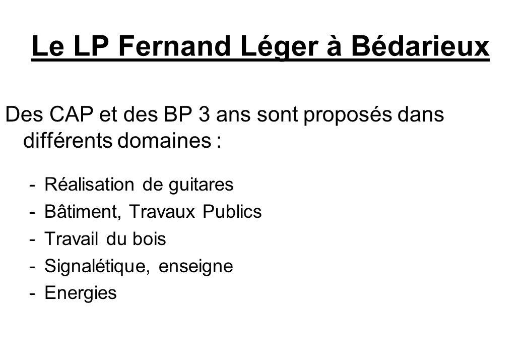 Le LP Fernand Léger à Bédarieux Des CAP et des BP 3 ans sont proposés dans différents domaines : -Réalisation de guitares -Bâtiment, Travaux Publics -