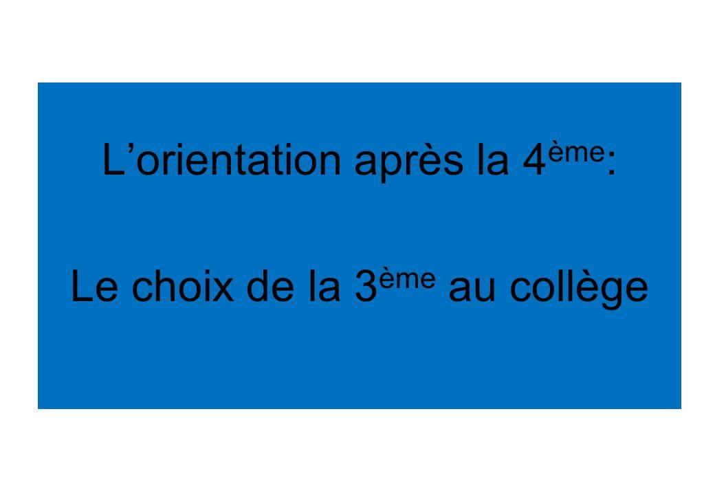Lorientation après la 4 ème : Le choix de la 3 ème au collège