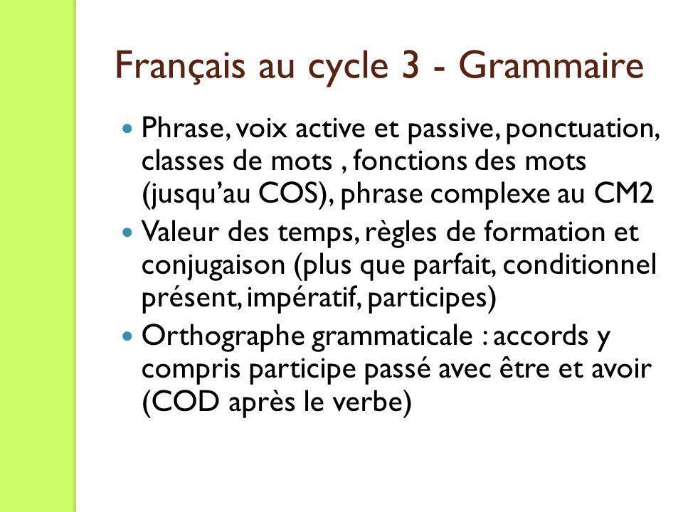 Phrase, voix active et passive, ponctuation, classes de mots, fonctions des mots (jusquau COS), phrase complexe au CM2 Valeur des temps, règles de for