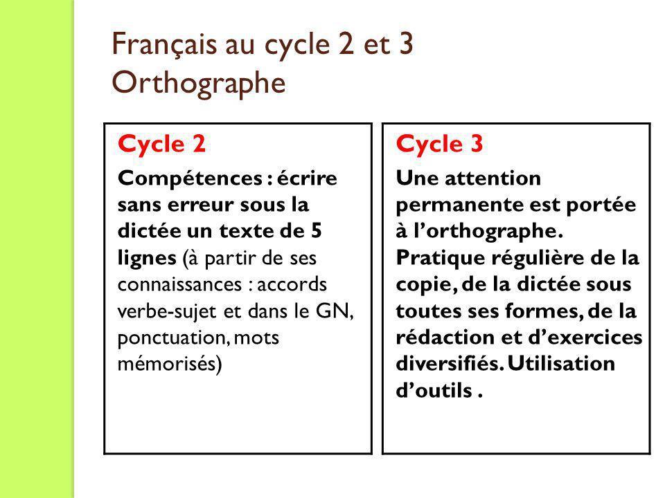 Français au cycle 2 et 3 Orthographe Cycle 2 Compétences : écrire sans erreur sous la dictée un texte de 5 lignes (à partir de ses connaissances : acc