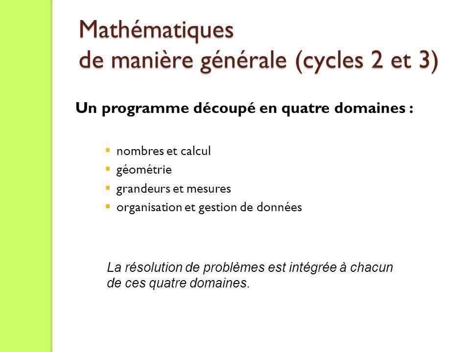 Mathématiques de manière générale (cycles 2 et 3) Mathématiques de manière générale (cycles 2 et 3) Un programme découpé en quatre domaines : nombres