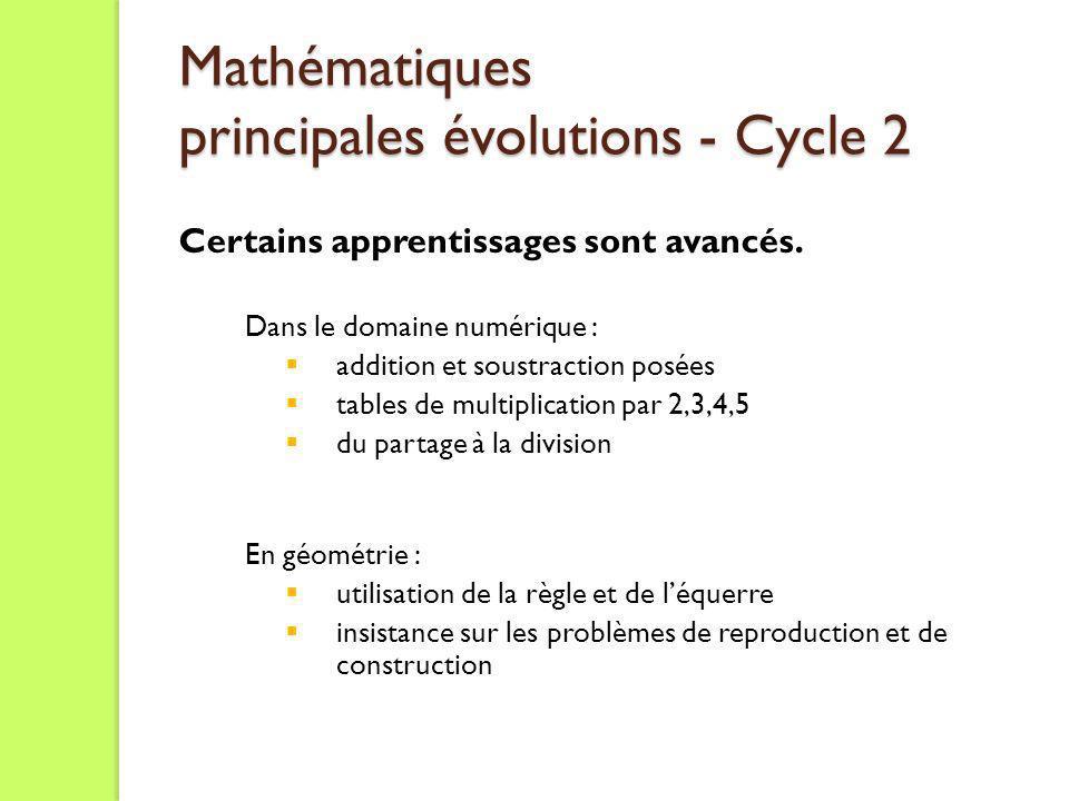 Mathématiques principales évolutions - Cycle 2 Certains apprentissages sont avancés. Dans le domaine numérique : addition et soustraction posées table