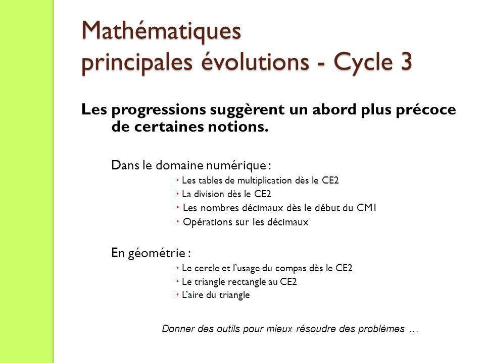 Mathématiques principales évolutions - Cycle 3 Les progressions suggèrent un abord plus précoce de certaines notions. Dans le domaine numérique : Les