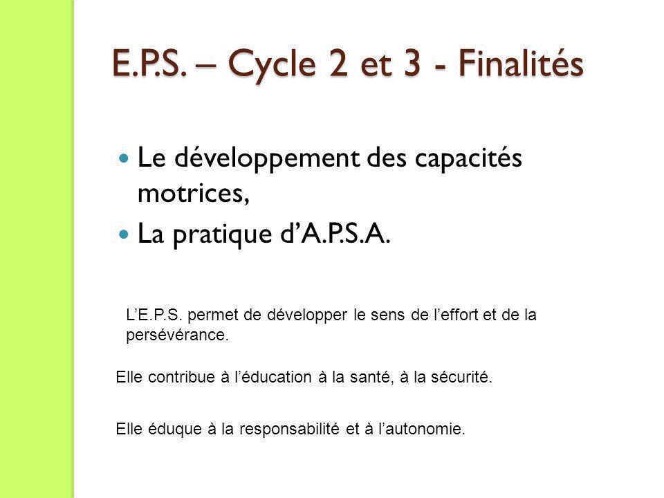 E.P.S. – Cycle 2 et 3 - Finalités Le développement des capacités motrices, La pratique dA.P.S.A. Elle contribue à léducation à la santé, à la sécurité