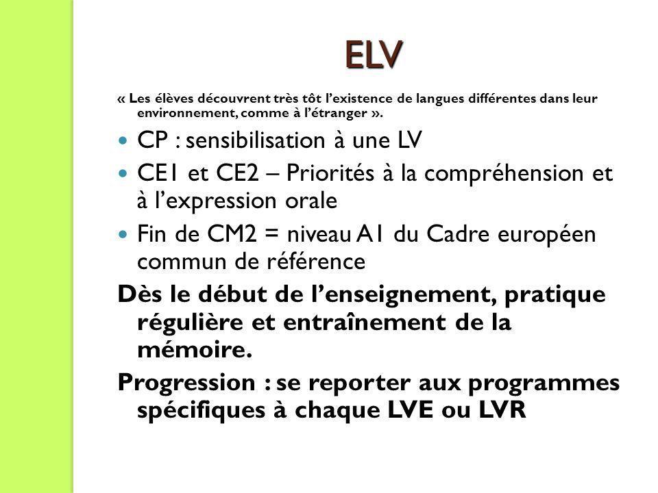ELV « Les élèves découvrent très tôt lexistence de langues différentes dans leur environnement, comme à létranger ». CP : sensibilisation à une LV CE1