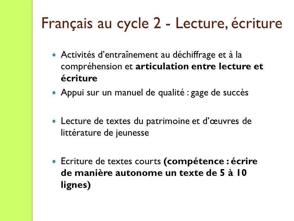 Français au cycle 2 - Lecture, écriture Activités dentraînement au déchiffrage et à la compréhension et articulation entre lecture et écriture Appui s