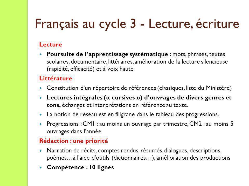 Mathématiques principales évolutions - Cycle 3 Les progressions suggèrent un abord plus précoce de certaines notions.
