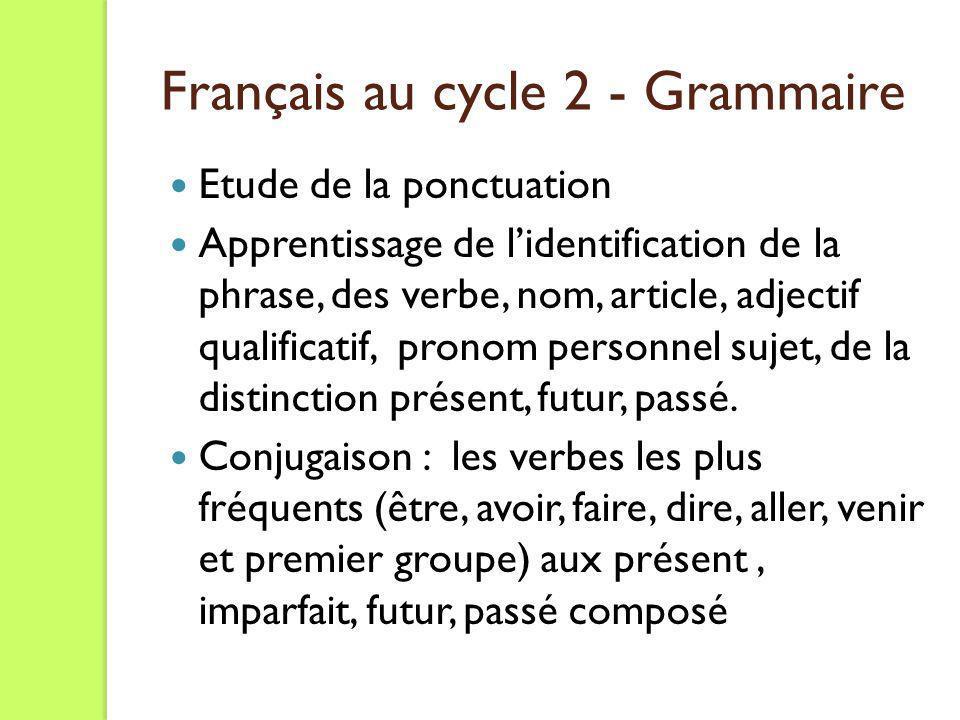 Etude de la ponctuation Apprentissage de lidentification de la phrase, des verbe, nom, article, adjectif qualificatif, pronom personnel sujet, de la d