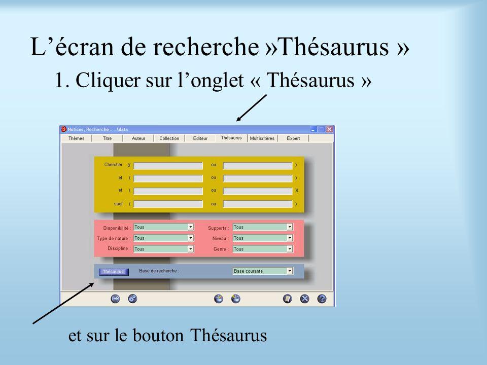 Lécran de recherche »Thésaurus » 1. Cliquer sur longlet « Thésaurus » et sur le bouton Thésaurus
