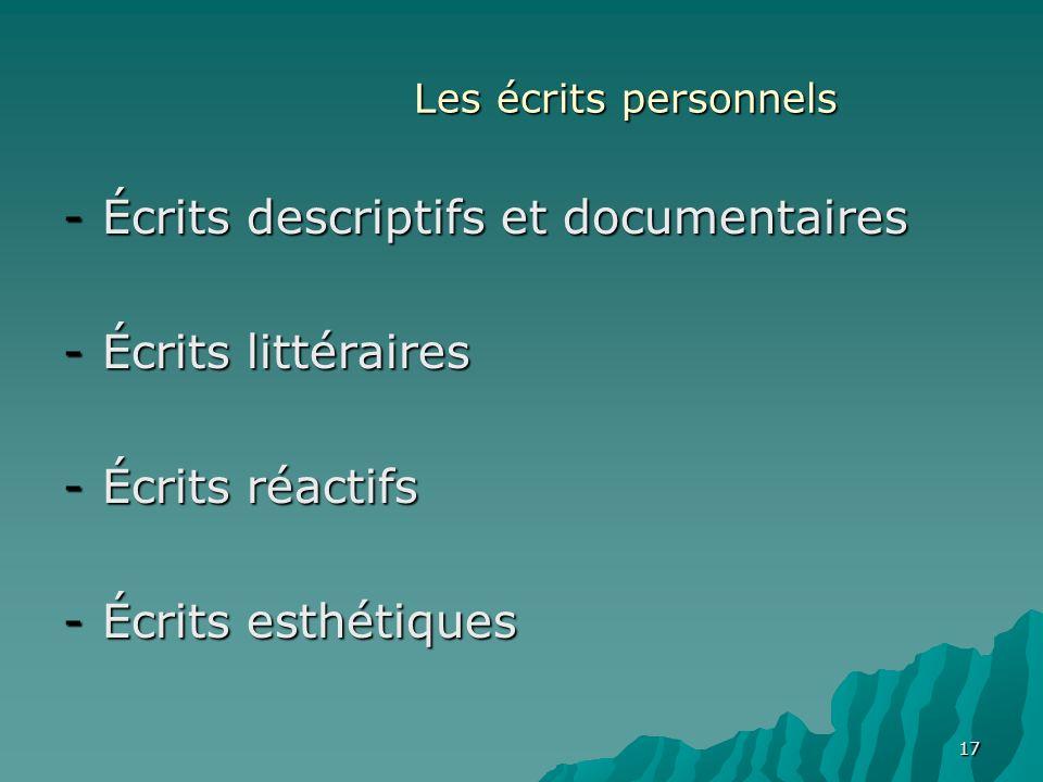 17 Les écrits personnels -Écrits descriptifs et documentaires -Écrits littéraires -Écrits réactifs -Écrits esthétiques