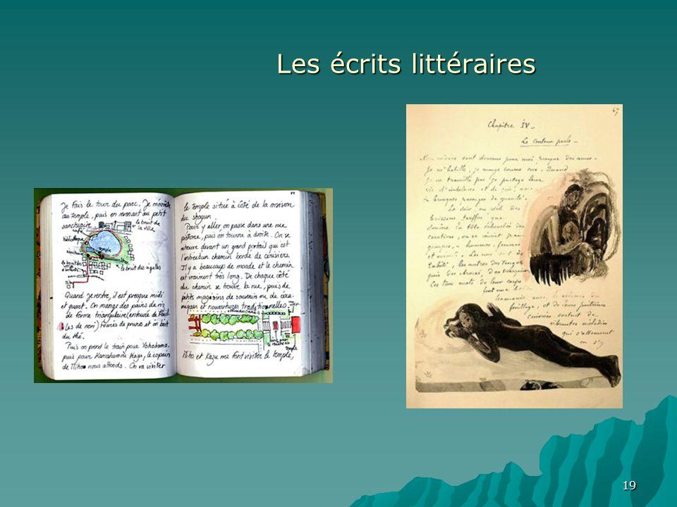 19 Les écrits littéraires