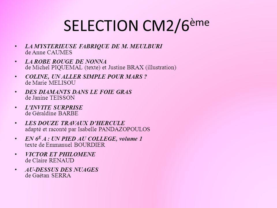 SELECTION CM2/6 ème LA MYSTERIEUSE FABRIQUE DE M. MEULBURI de Anne CAUMES LA ROBE ROUGE DE NONNA de Michel PIQUEMAL (texte) et Justine BRAX (illustrat