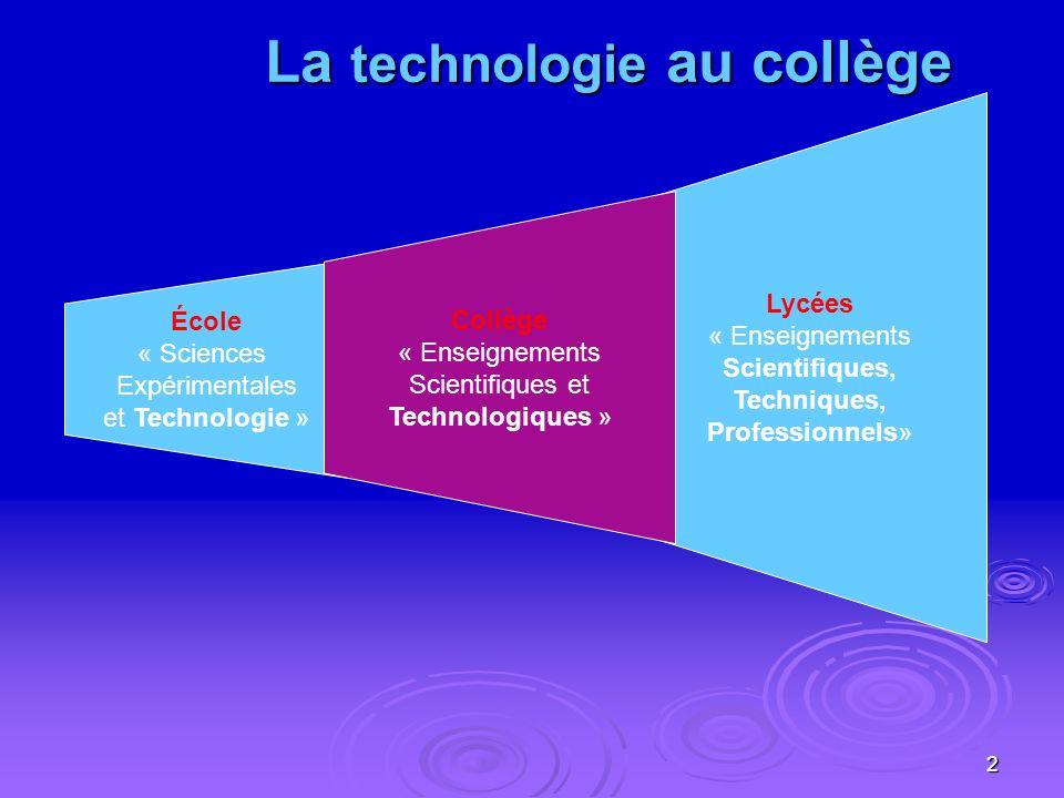 2 Lycées « Enseignements Scientifiques, Techniques, Professionnels » École « Sciences Expérimentales et Technologie » Collège « Enseignements Scientifiques et Technologiques » La technologie au collège La technologie au collège