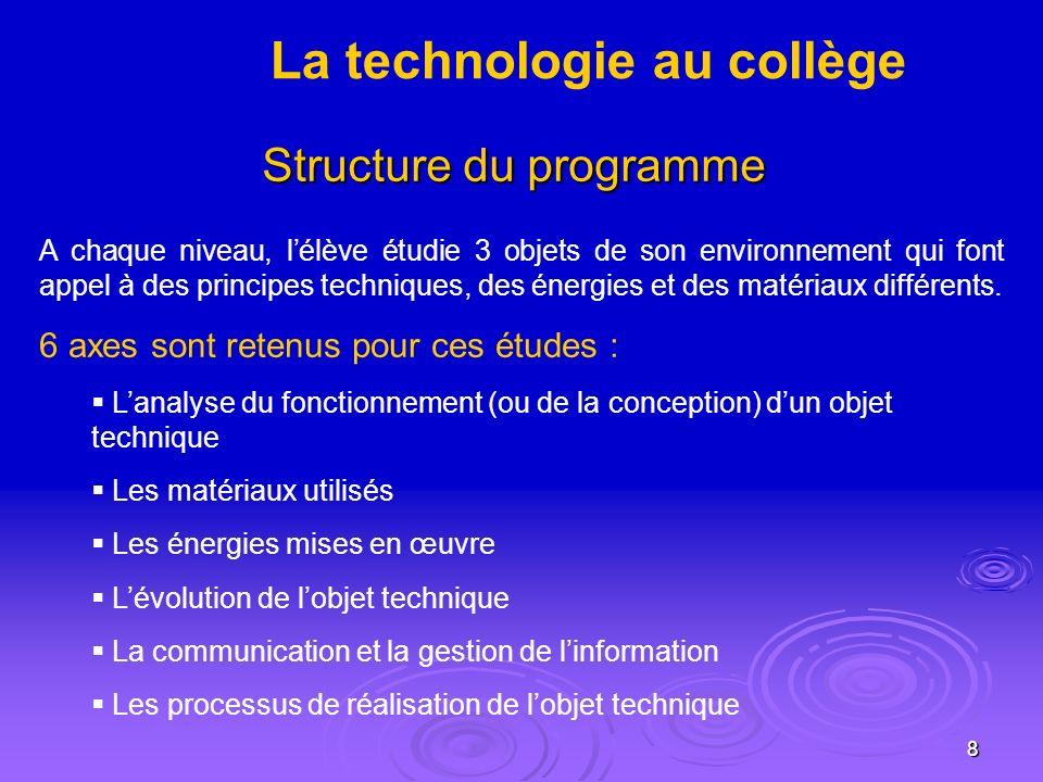 8 Structure du programme A chaque niveau, lélève étudie 3 objets de son environnement qui font appel à des principes techniques, des énergies et des matériaux différents.
