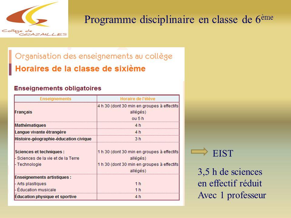 EIST 3,5 h de sciences en effectif réduit Avec 1 professeur Programme disciplinaire en classe de 6 ème