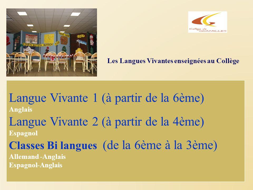 Les Langues Vivantes enseignées au Collège Langue Vivante 1 (à partir de la 6ème) Anglais Langue Vivante 2 (à partir de la 4ème) Espagnol Classes Bi l