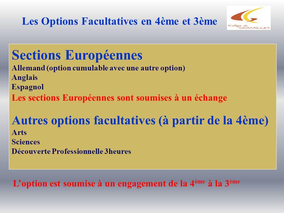 Les Options Facultatives en 4ème et 3ème Sections Européennes Allemand (option cumulable avec une autre option) Anglais Espagnol Les sections Européen