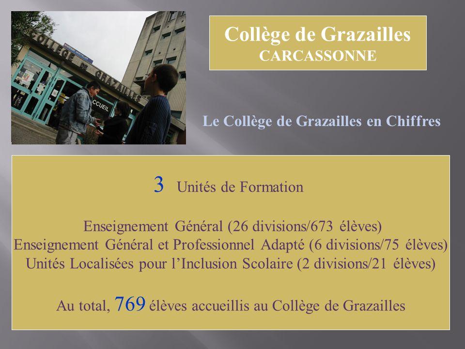 Collège de Grazailles CARCASSONNE Le Collège de Grazailles en Chiffres 3 Unités de Formation Enseignement Général (26 divisions/673 élèves) Enseigneme