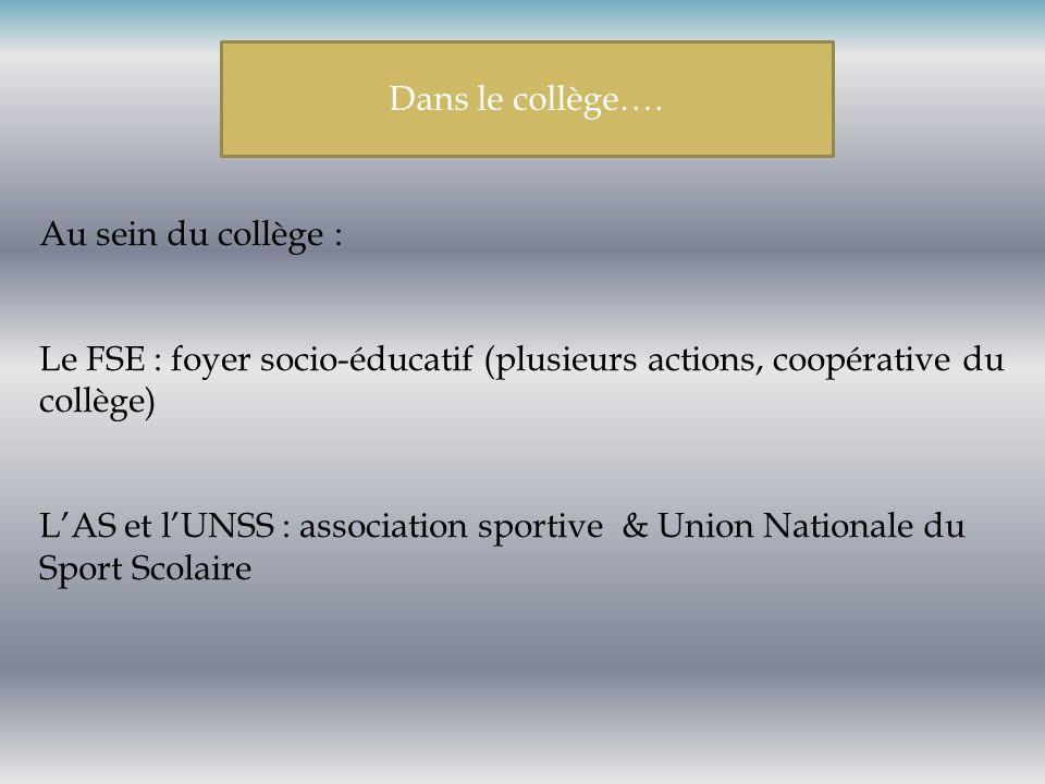 Au sein du collège : Le FSE : foyer socio-éducatif (plusieurs actions, coopérative du collège) LAS et lUNSS : association sportive & Union Nationale d