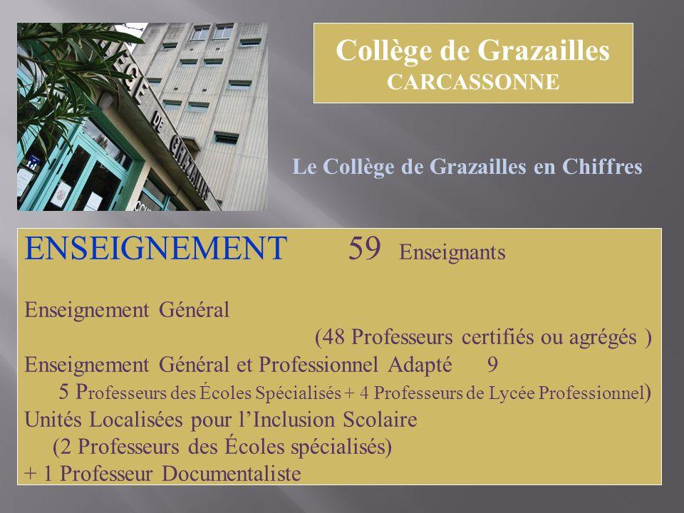 Collège de Grazailles CARCASSONNE Le Collège de Grazailles en Chiffres ENSEIGNEMENT 59 Enseignants Enseignement Général (48 Professeurs certifiés ou a