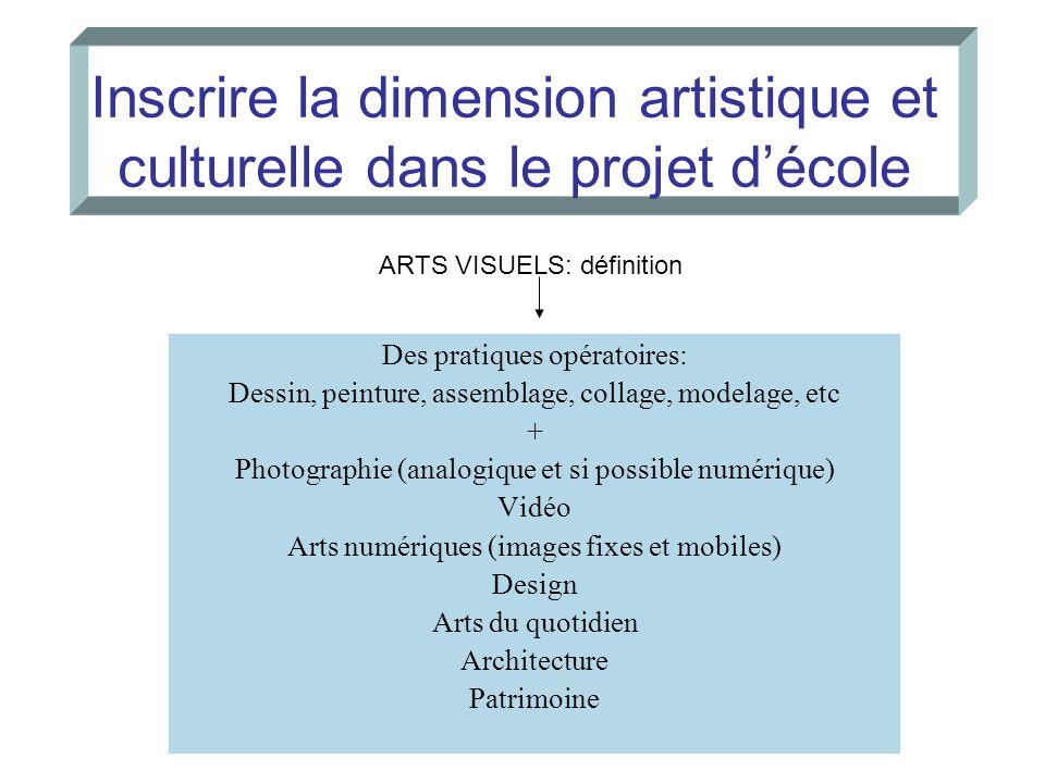 Inscrire la dimension artistique et culturelle dans le projet décole Des pratiques opératoires: Dessin, peinture, assemblage, collage, modelage, etc +