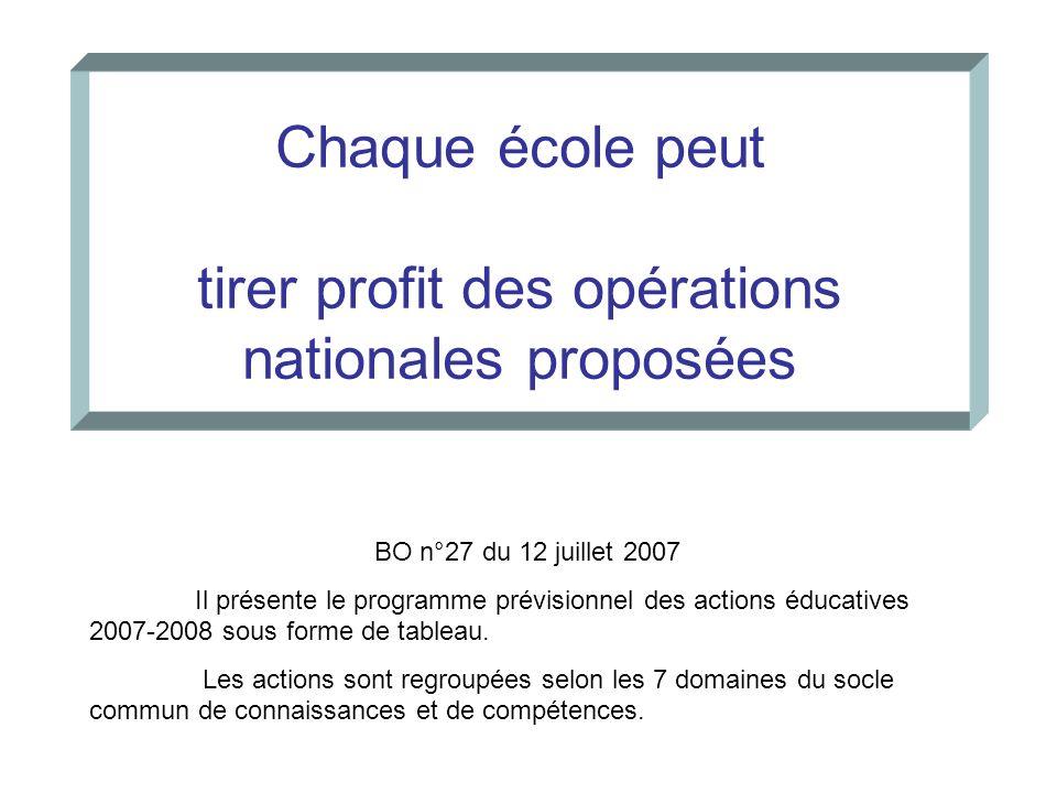 Chaque école peut tirer profit des opérations nationales proposées BO n°27 du 12 juillet 2007 Il présente le programme prévisionnel des actions éducat