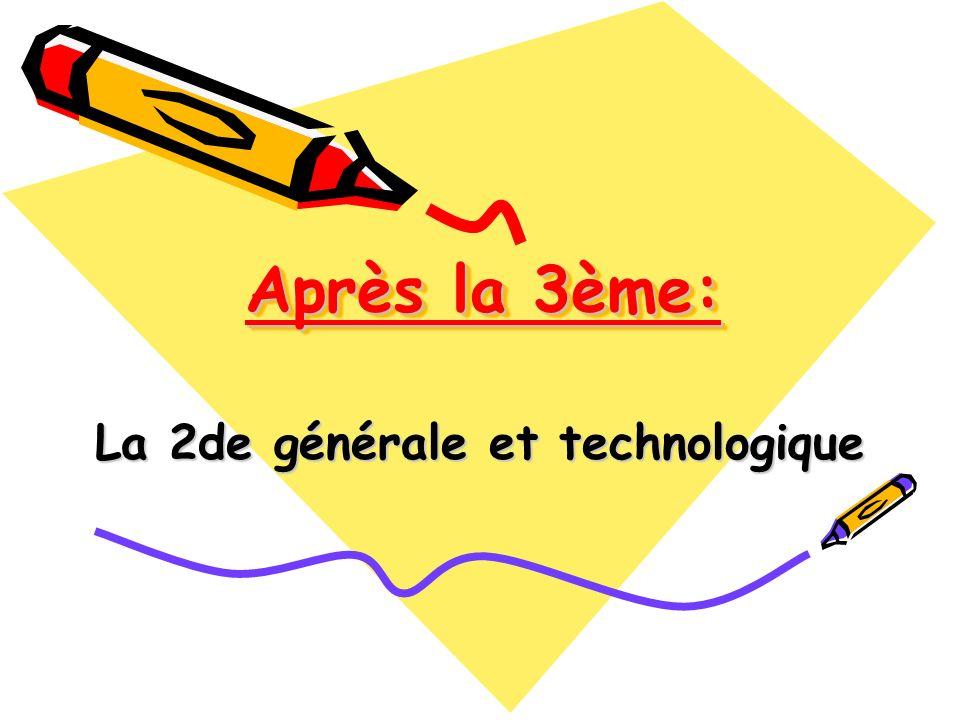 Après la 3ème: La 2de générale et technologique