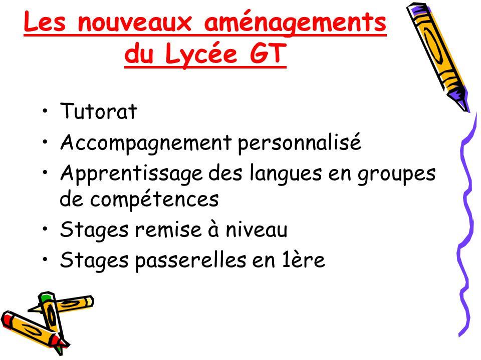 Les nouveaux aménagements du Lycée GT Tutorat Accompagnement personnalisé Apprentissage des langues en groupes de compétences Stages remise à niveau S