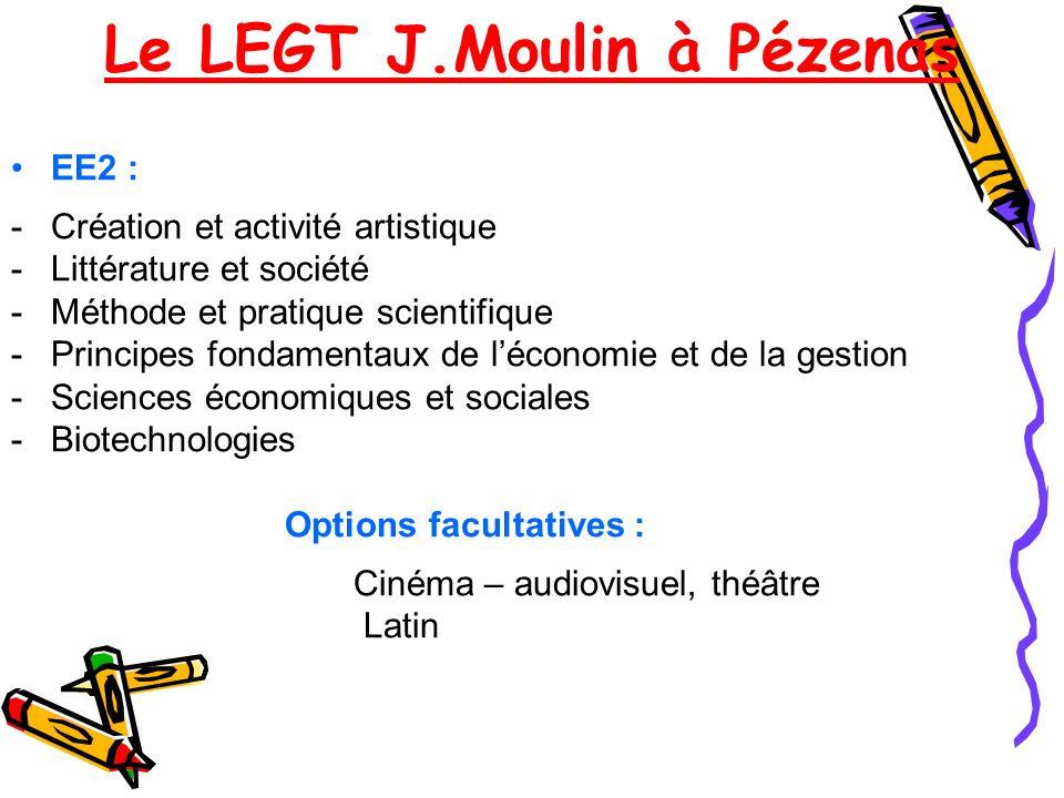 EE2 : -Création et activité artistique -Littérature et société -Méthode et pratique scientifique -Principes fondamentaux de léconomie et de la gestion