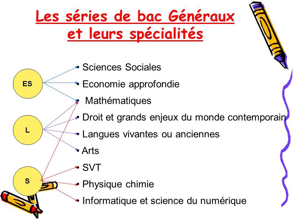 Les séries de bac Généraux et leurs spécialités ES L S Sciences Sociales Economie approfondie Mathématiques Droit et grands enjeux du monde contempora
