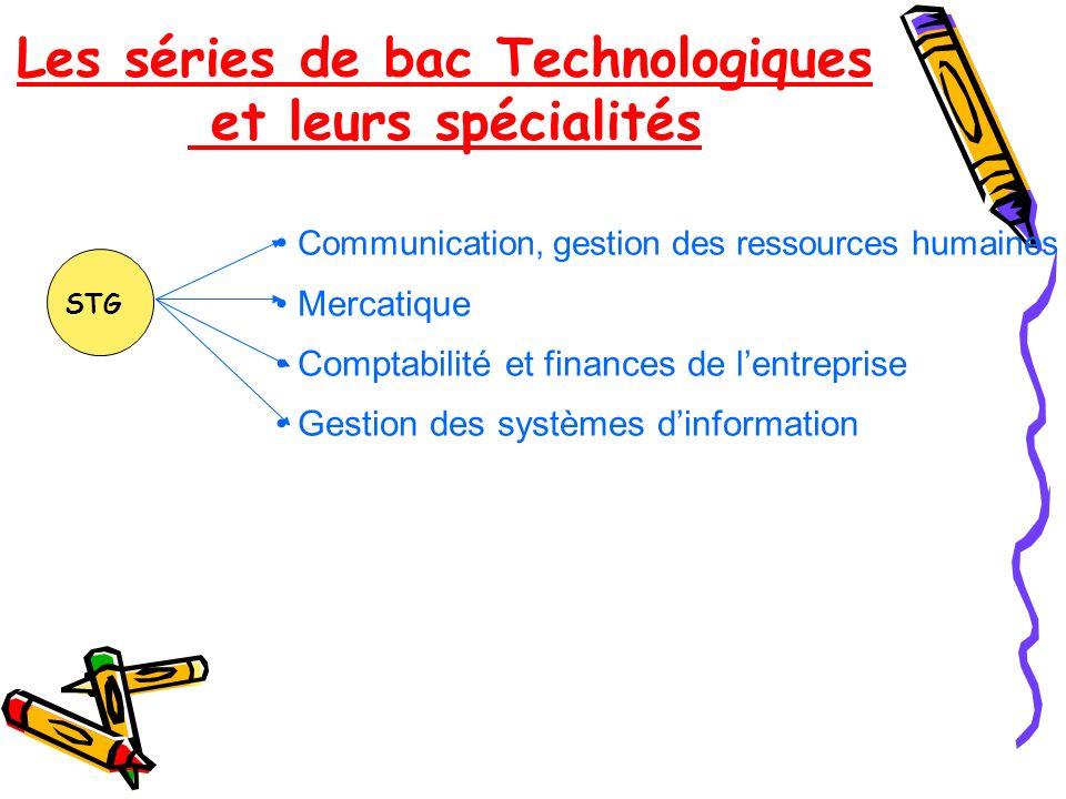 Les séries de bac Technologiques et leurs spécialités Communication, gestion des ressources humaines Mercatique Comptabilité et finances de lentrepris