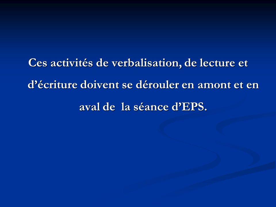 Ces activités de verbalisation, de lecture et décriture doivent se dérouler en amont et en aval de la séance dEPS.