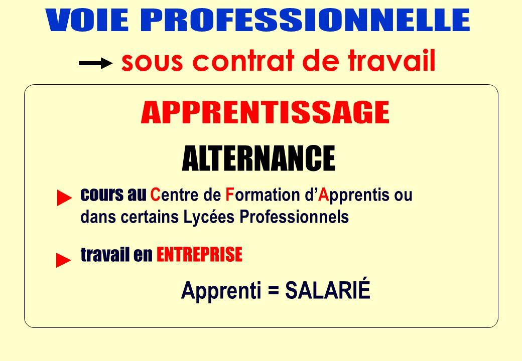 ALTERNANCE = Apprenti = SALARIÉ cours au Centre de Formation dApprentis ou dans certains Lycées Professionnels travail en ENTREPRISE sous contrat de t
