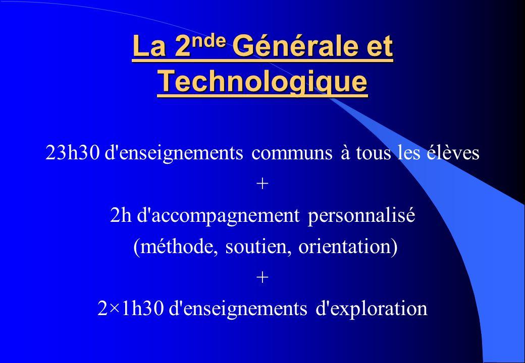 La 2 nde Générale et Technologique 23h30 d'enseignements communs à tous les élèves + 2h d'accompagnement personnalisé (méthode, soutien, orientation)