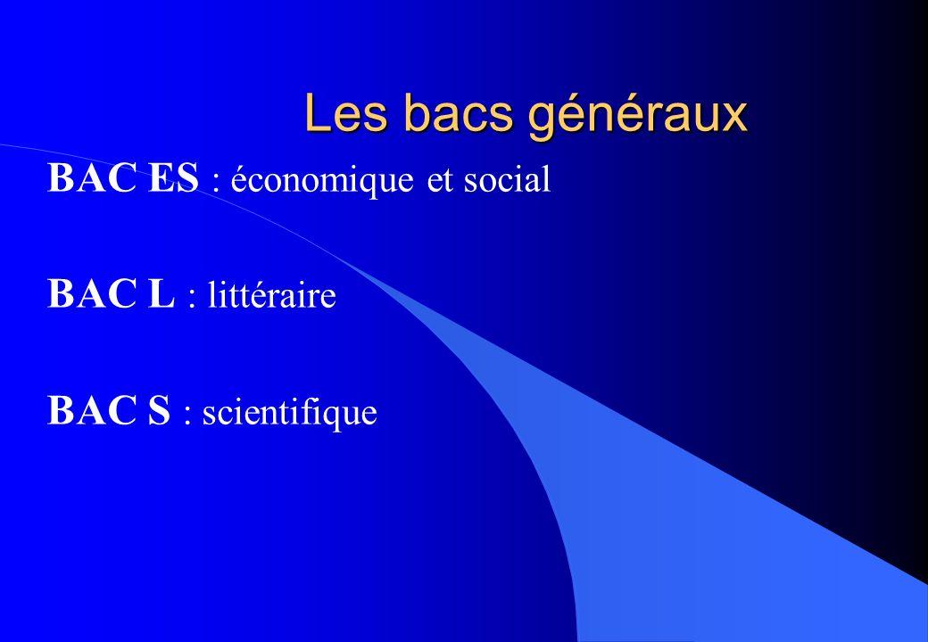 Les bacs généraux BAC ES : économique et social BAC L : littéraire BAC S : scientifique