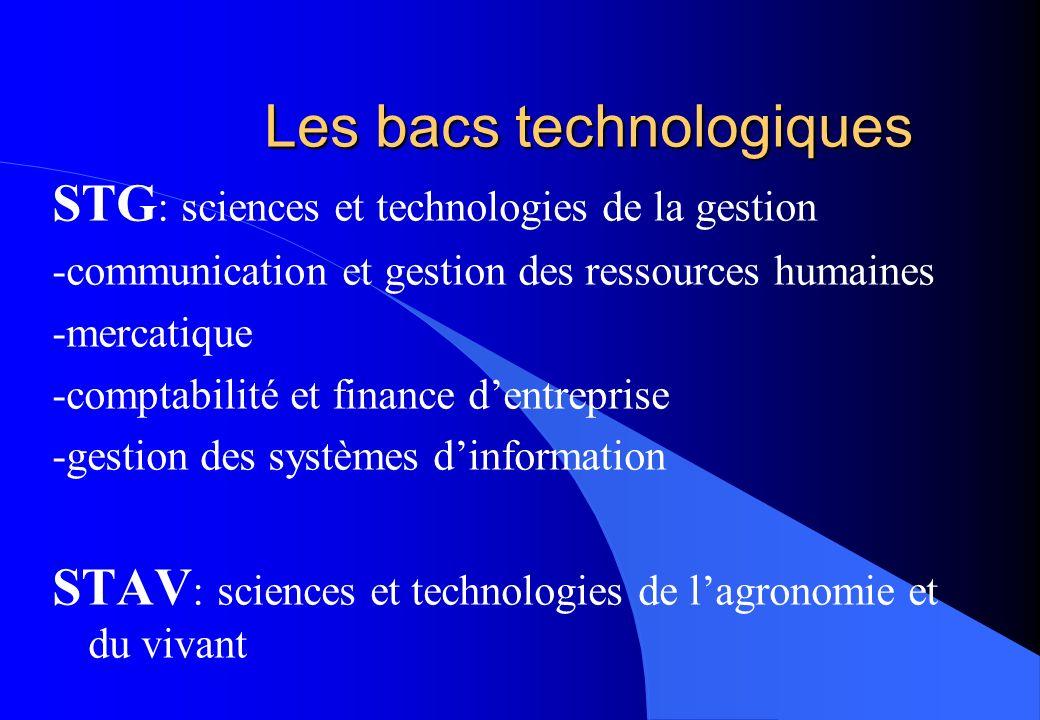 Les bacs technologiques STG : sciences et technologies de la gestion -communication et gestion des ressources humaines -mercatique -comptabilité et fi