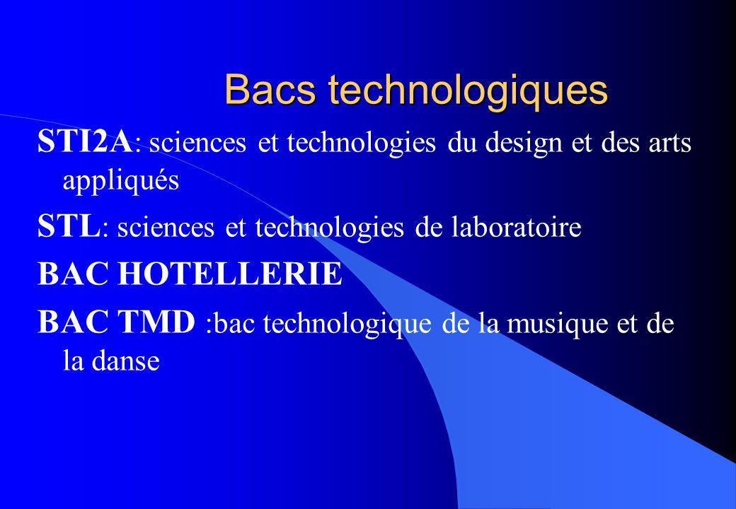 Bacs technologiques STI2A : sciences et technologies du design et des arts appliqués STL : sciences et technologies de laboratoire BAC HOTELLERIE BAC