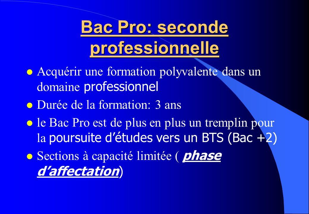 Bac Pro: seconde professionnelle Acquérir une formation polyvalente dans un domaine professionnel Durée de la formation: 3 ans le Bac Pro est de plus