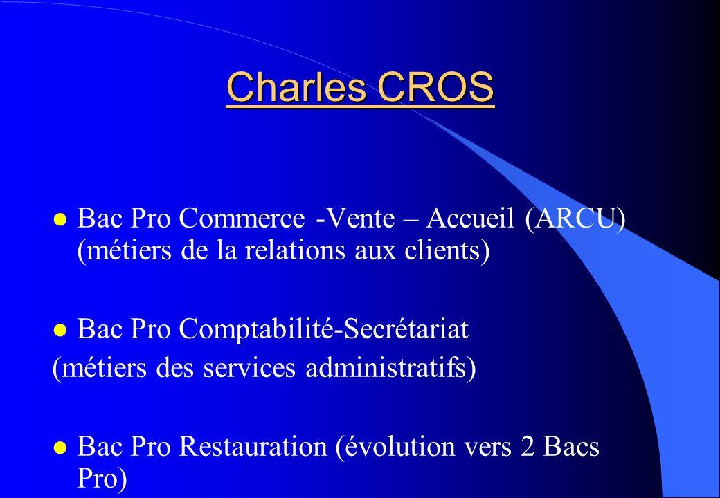 Charles CROS Bac Pro Commerce -Vente – Accueil (ARCU) (métiers de la relations aux clients) Bac Pro Comptabilité-Secrétariat (métiers des services adm