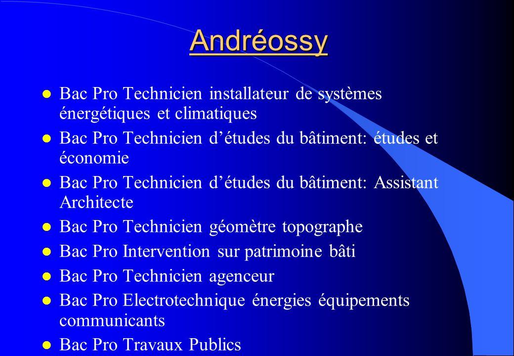 Andréossy Bac Pro Technicien installateur de systèmes énergétiques et climatiques Bac Pro Technicien détudes du bâtiment: études et économie Bac Pro T