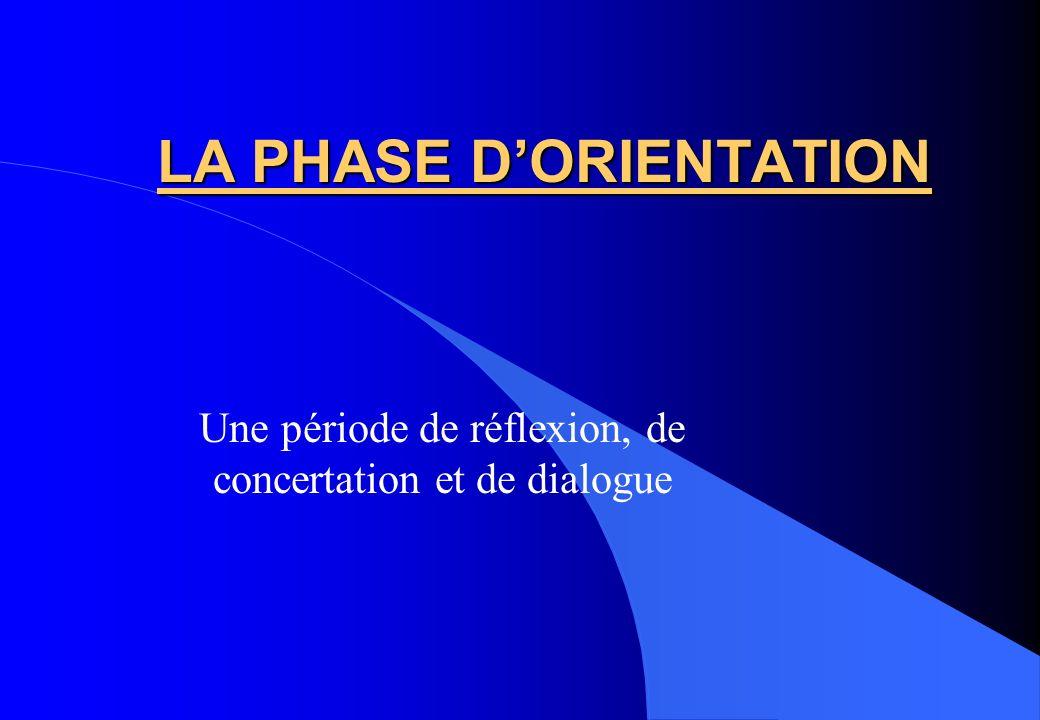 LA PHASE DORIENTATION Une période de réflexion, de concertation et de dialogue