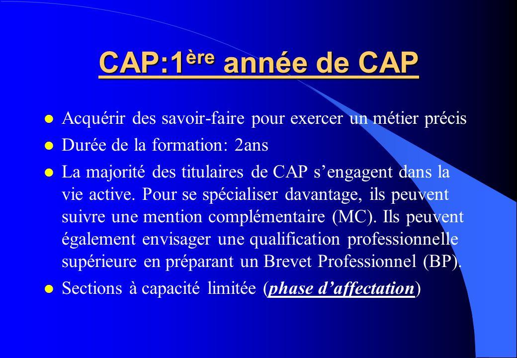 CAP:1 ère année de CAP Acquérir des savoir-faire pour exercer un métier précis Durée de la formation: 2ans La majorité des titulaires de CAP sengagent