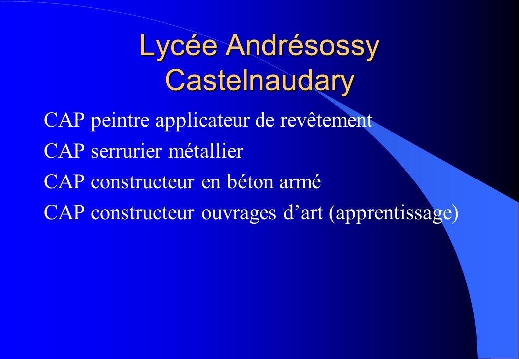 Lycée Andrésossy Castelnaudary CAP peintre applicateur de revêtement CAP serrurier métallier CAP constructeur en béton armé CAP constructeur ouvrages