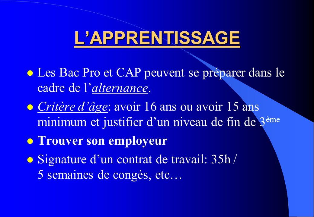 LAPPRENTISSAGE Les Bac Pro et CAP peuvent se préparer dans le cadre de lalternance. Critère dâge: avoir 16 ans ou avoir 15 ans minimum et justifier du